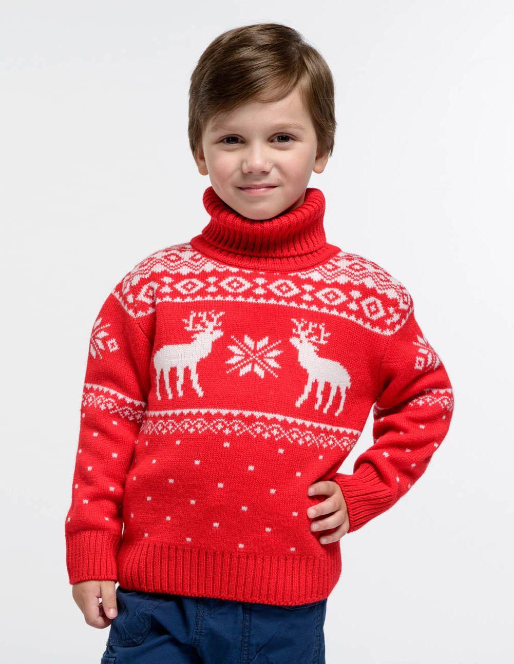 Детский свитер с оленями с горлом, размер