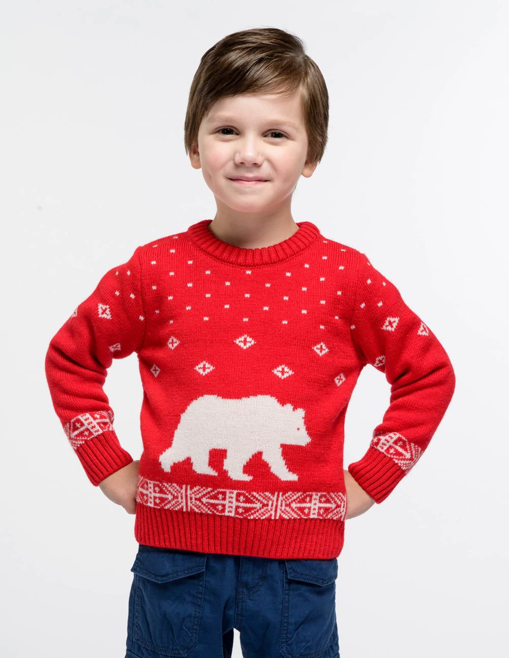 Детский свитер с медведем, размер 110 116