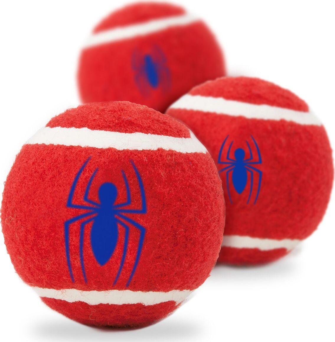 Апорт для собак Buckle-Down Теннисный мяч Человек-паук, красный, 7 см, 3 шт фото