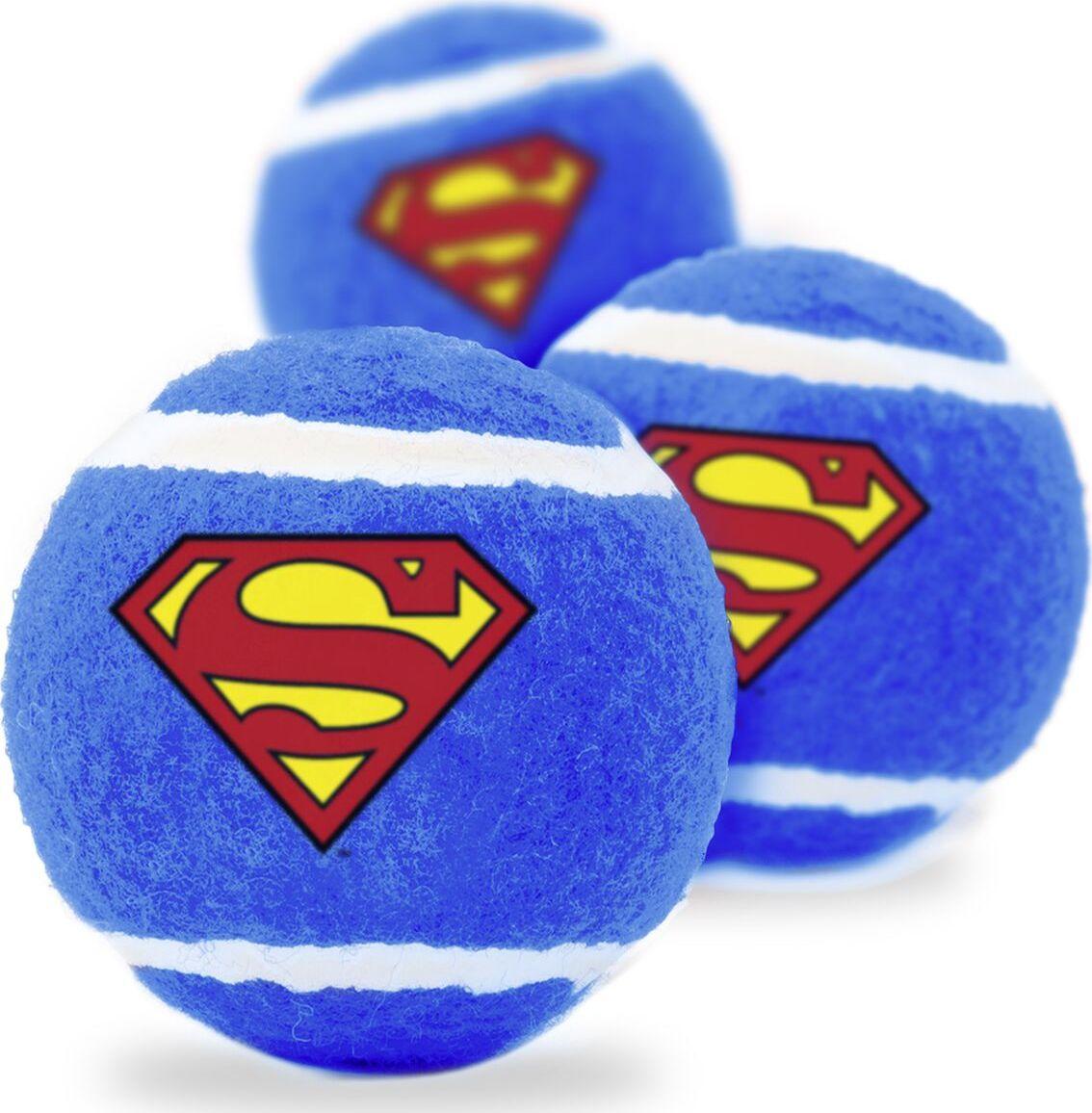 Апорт для собак Buckle-Down Теннисный мяч Супермен, синий, длина 7 см, 3 шт фото
