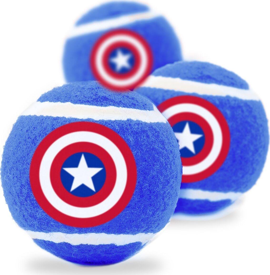 Апорт для собак Buckle-Down Теннисный мяч Капитан Америка, синий, 7 см, 3 шт фото