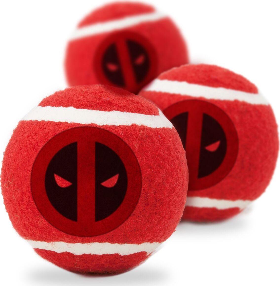 Апорт для собак Buckle-Down Теннисный мяч Дэдпул, красный, 7 см, 3 шт фото