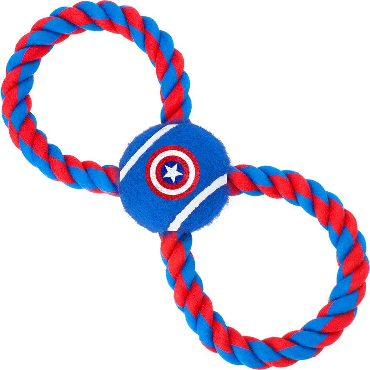 Грейфер для собак Buckle-Down Мячик на веревке Капитан Америка, длина 29 см фото