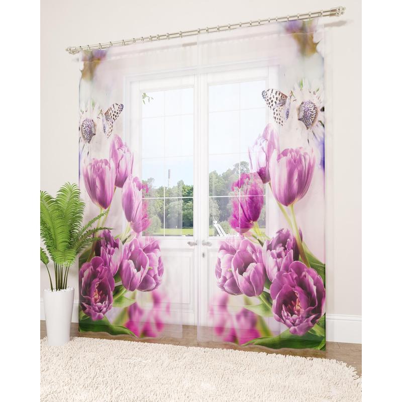 Комплект Фототюль вуаль, СИРЕНЬ, Фиолетовые тюльпаны, 145х260см