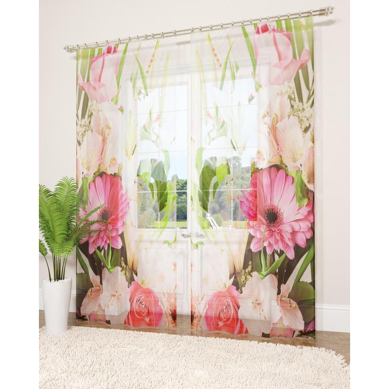 Комплект Фототюль вуаль, СИРЕНЬ, Летние цветы, 145х260см