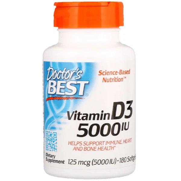 Витамин D3 Doctor's Best Vitamin D3 5000 IU 180 капсул фото