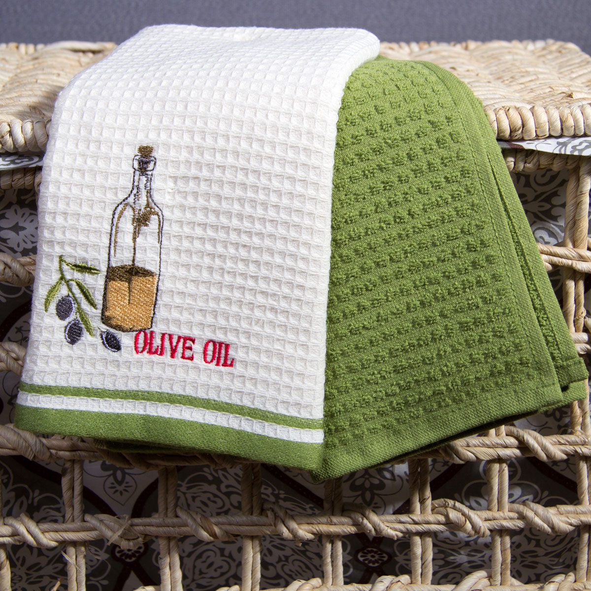 Полотенце кухонное Arya Warren Цвет: Экрю, Зелёный