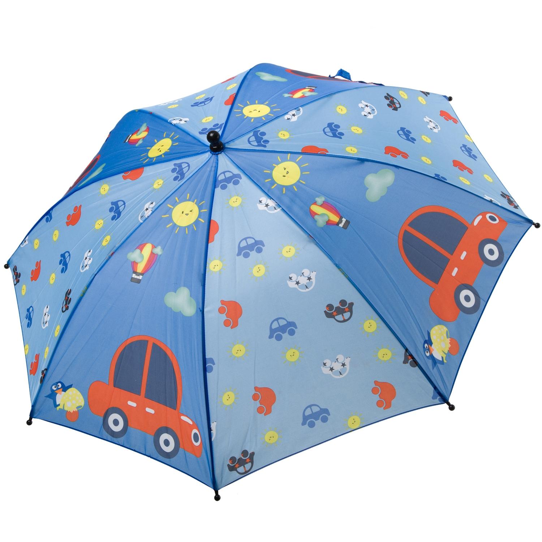 Автоматический детский зонт Bondibon Машинки, голубой,