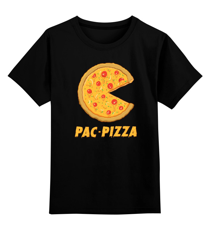 Купить 0000000755385, Детская футболка Printio Пак-пицца цв.черный р.140,