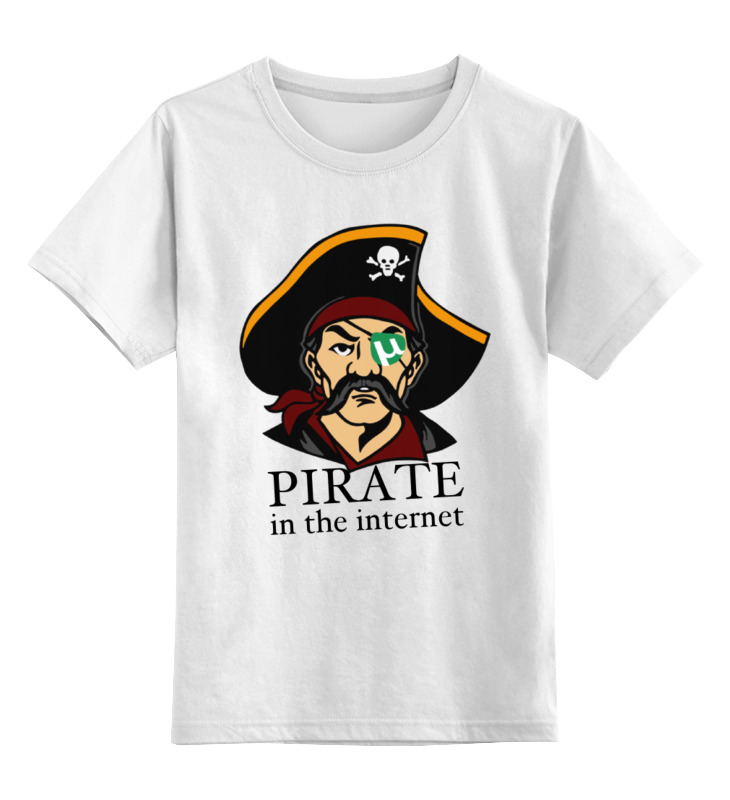 Детская футболка Printio Интернет пират цв.белый р.140 0000000751061 по цене 790