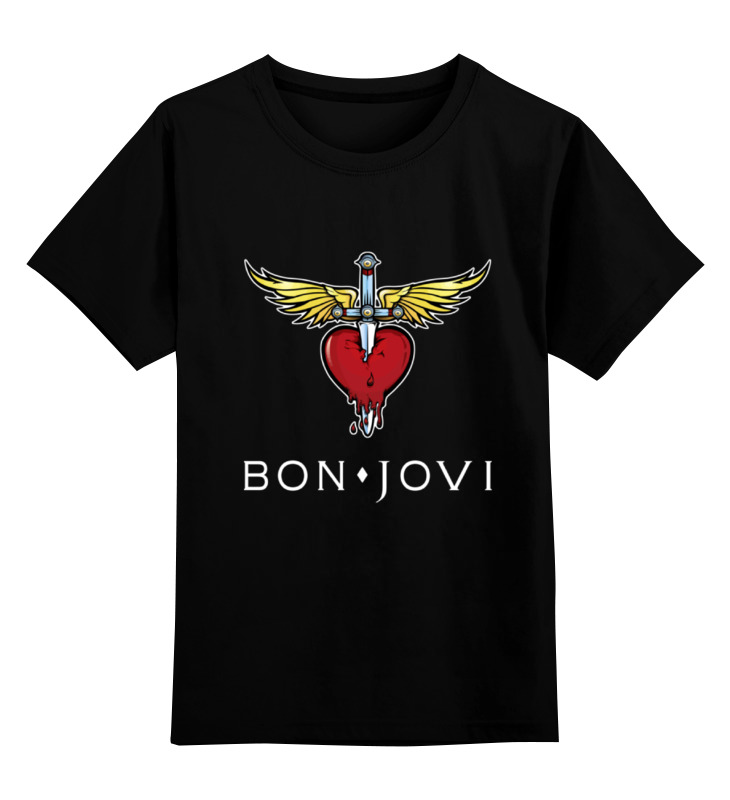Купить 0000000747919, Детская футболка Printio Bon jovi цв.черный р.152,