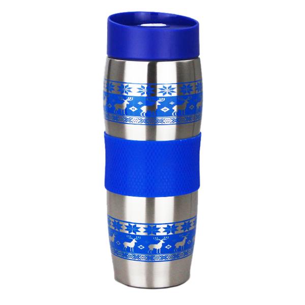 Термокружка ALPENKOK AK-04023A ОЛЕНИ синие, НЕРЖ. 400мл (24)