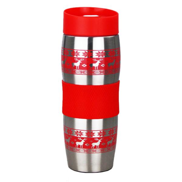 Термокружка ALPENKOK AK-04022A ОЛЕНИ красные, НЕРЖ. 400мл (24)