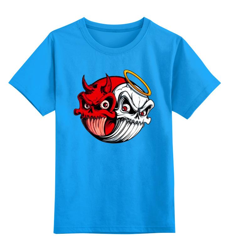 Купить 0000000732810, Детская футболка Printio Angel & devil цв.голубой р.152,