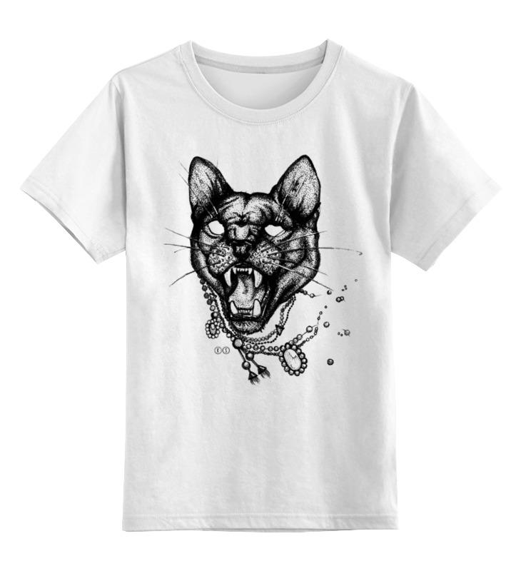 0000000732365, Детская футболка Printio Пантера цв.белый р.152,  - купить со скидкой