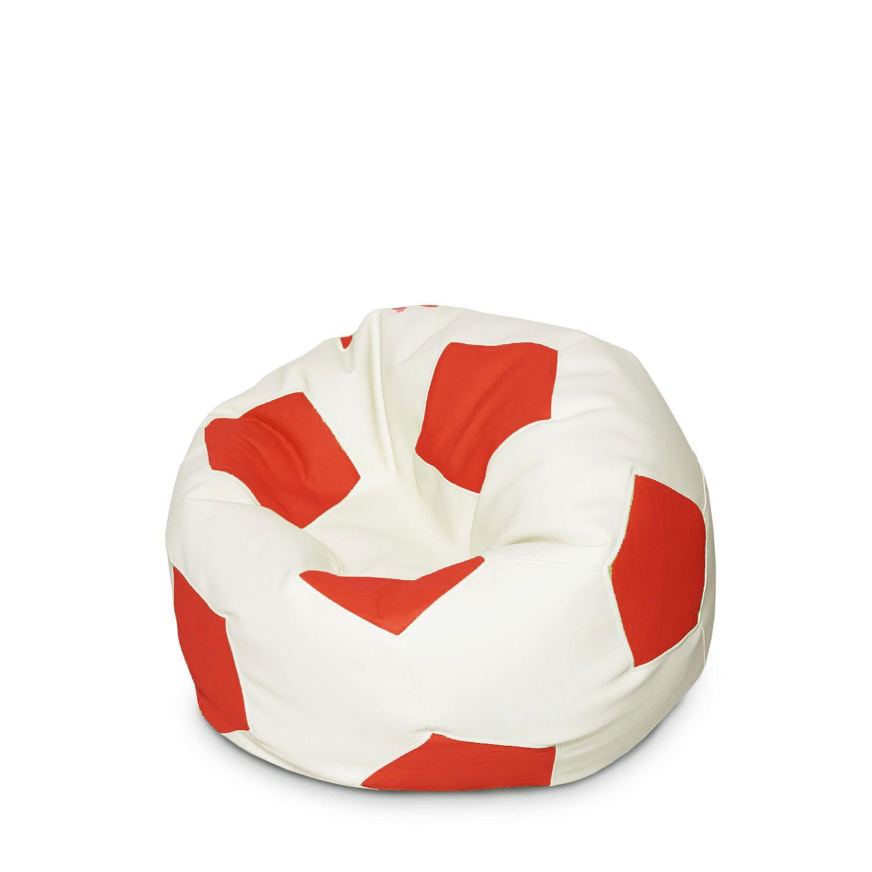 Купить Кресло мешок, Кресло-мяч детский Красно-белый 50х50х50 см, Папа Пуф,