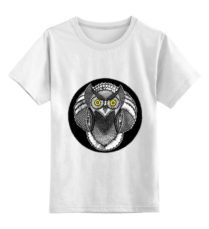 Купить 0000000739518, Детская футболка Printio Сова-желтоглазая цв.белый р.164,