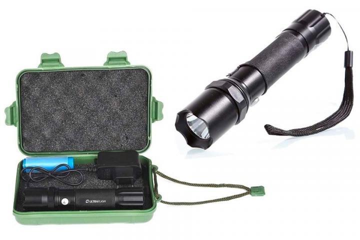 Фонарь ручной Ultraflash E145 (1x18650) 1 LED 1W (80lm), черный, металл, 3 режима
