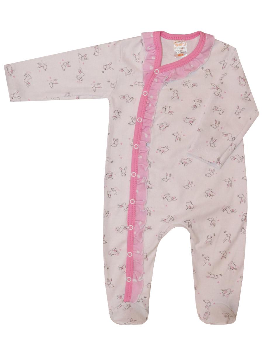Купить Комбинезон КотМарКот Нежный зайка 6030123 р.68, Трикотажные комбинезоны для новорожденных