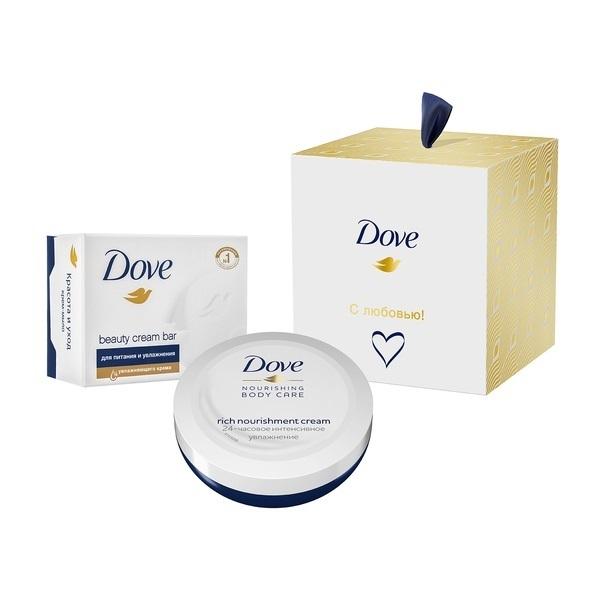 """Подарочный набор Dove """"Коллекция с любовью для вас"""": крем 75мл  + крем-мыло, 100 г"""