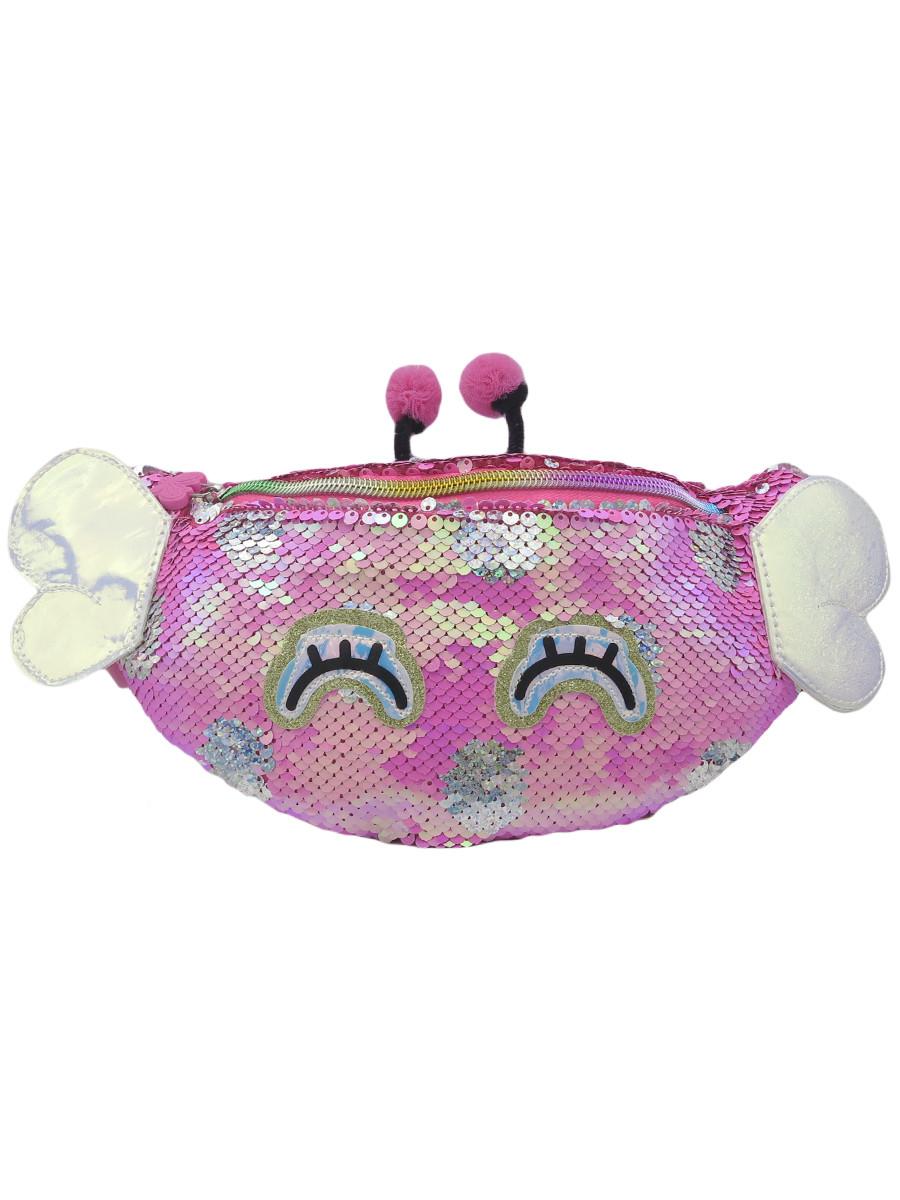 Купить Сумка детская МихиМихи поясная Bright Dreams. Бабочка, с пайетками, цвет фуксия,