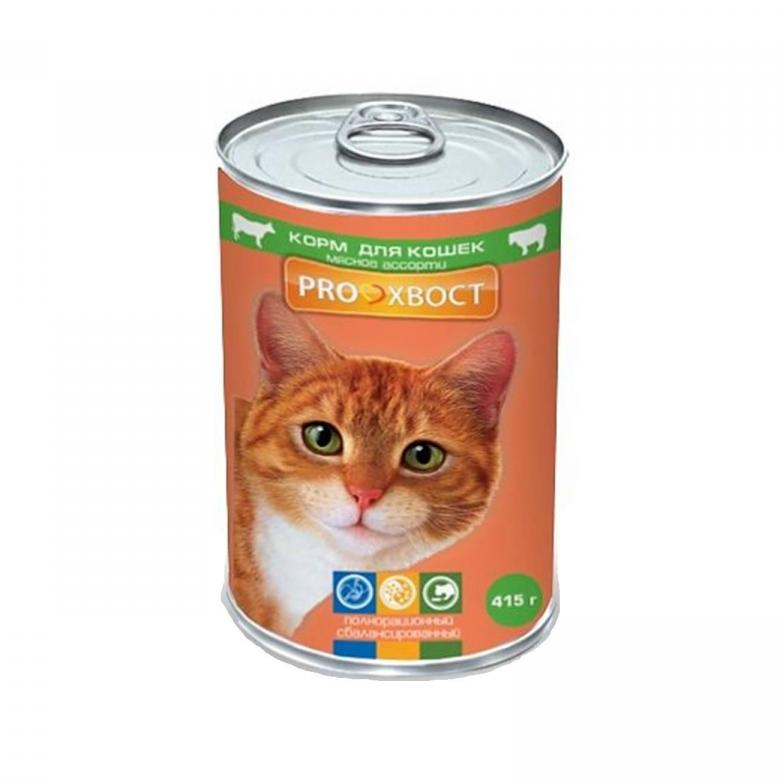 Консервы для кошек ProХвост, мясное ассорти в желе, 415г мясное ассорти в желе, 415 г по цене 52