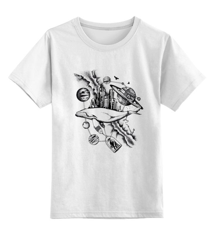 Купить 0000000736905, Детская футболка Printio The megapolis whale цв.белый р.164,