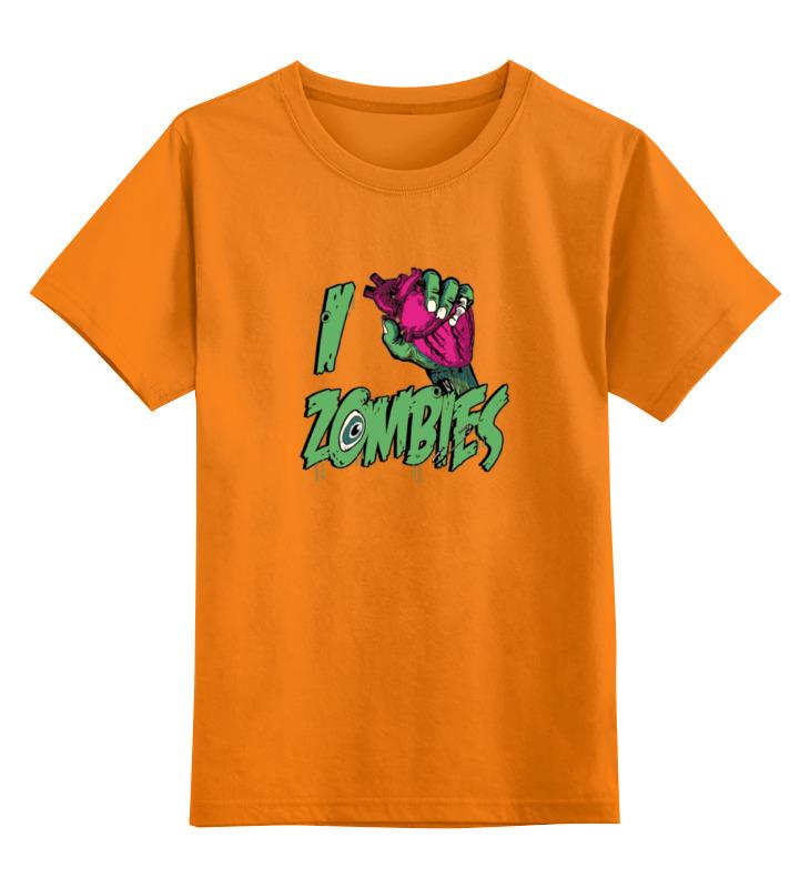 Купить 0000000736136, Детская футболка Printio Я люблю зомби цв.оранжевый р.164,