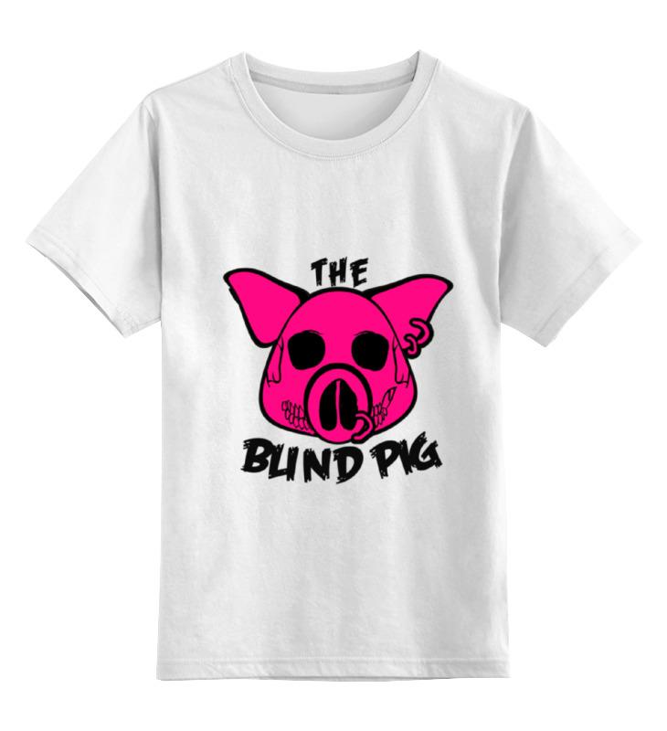 Купить 0000000734715, Детская футболка Printio The blind pig #2 цв.белый р.164,