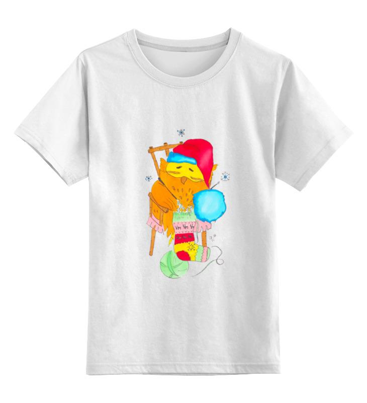 Купить 0000000732108, Детская футболка Printio Сова в колпаке цв.белый р.164,