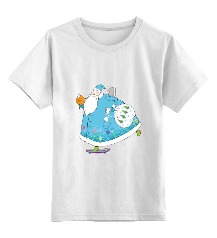 Купить 0000000730277, Детская футболка Printio Дед мороз на скейте цв.белый р.164,