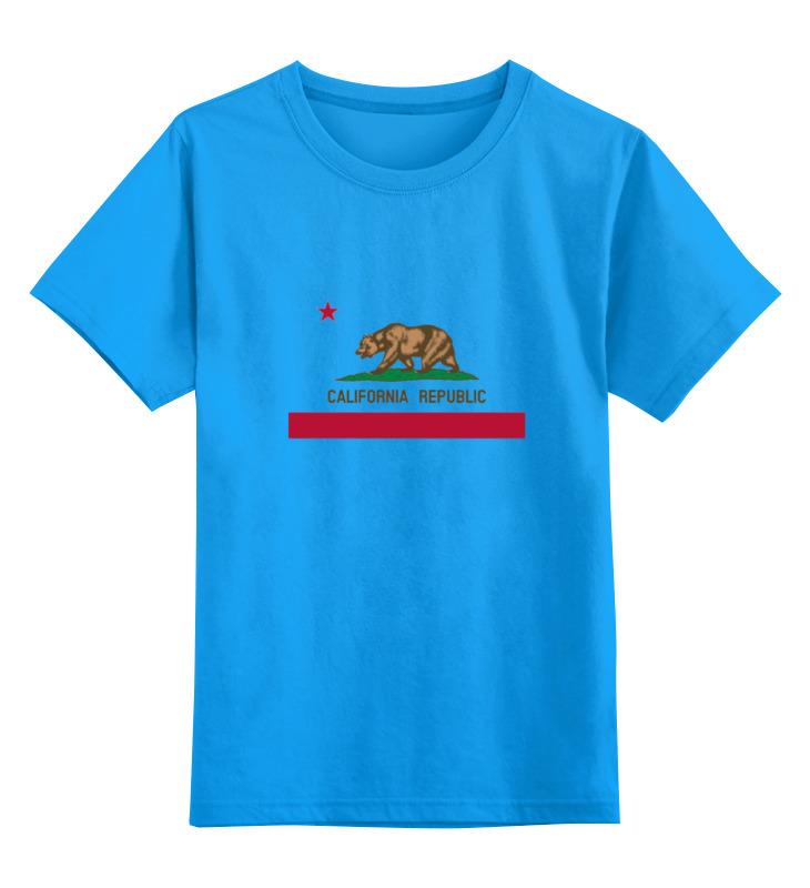 Купить 0000000739186, Детская футболка Printio Калифорния флаг цв.голубой р.104,