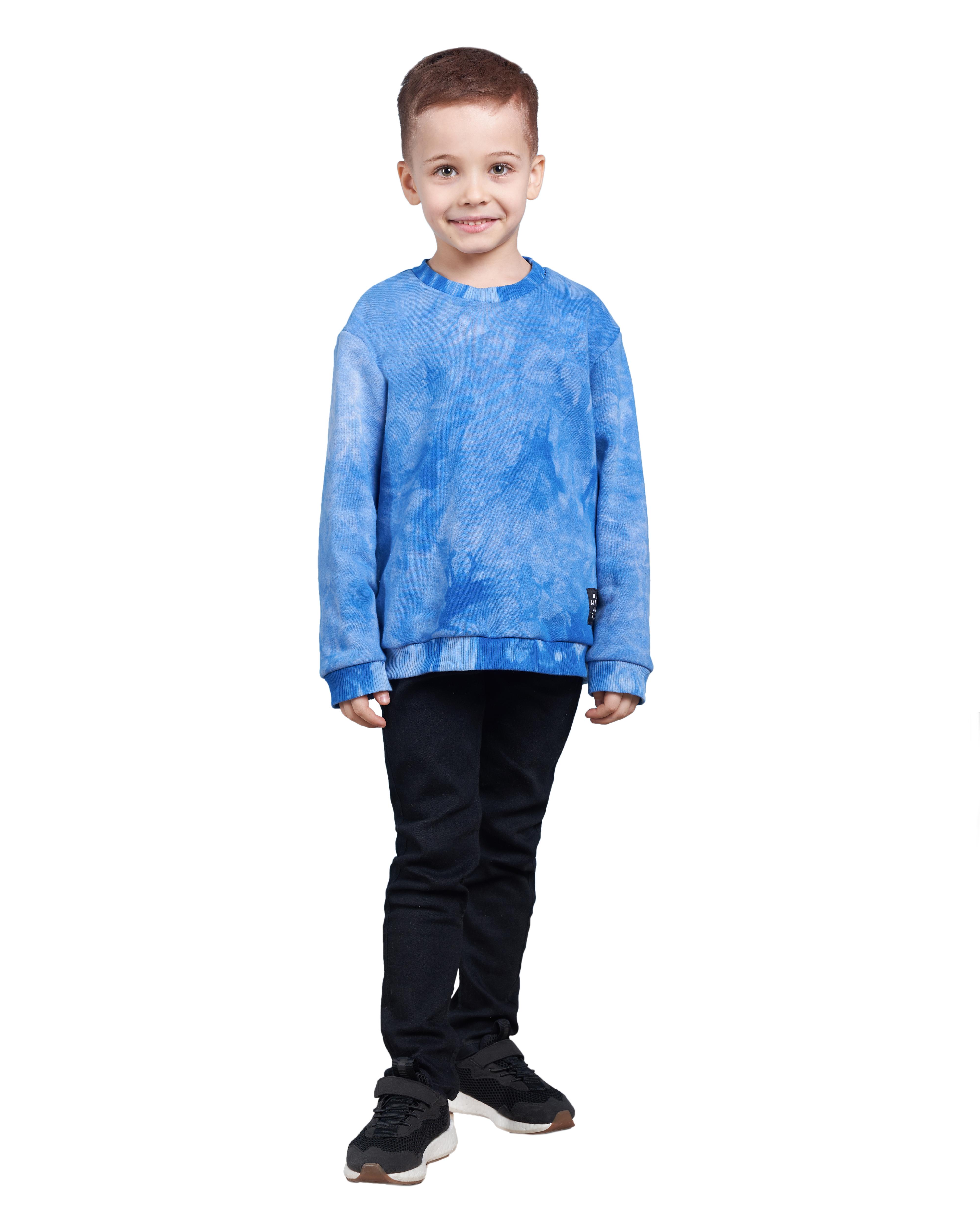 Купить Свитшот детский BARMARISKA Тай Дай синий р.110-116, Толстовки для девочек