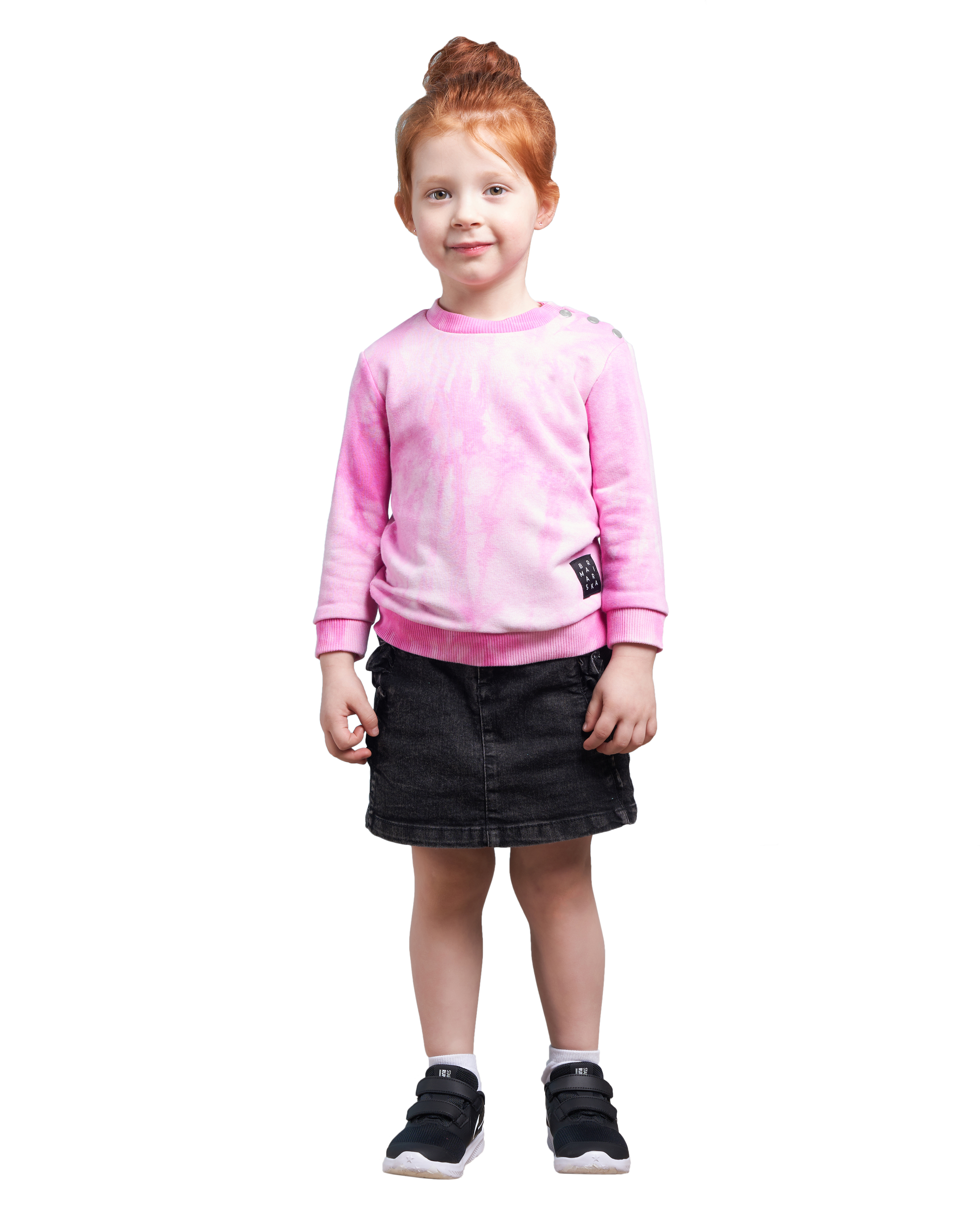 Купить Свитшот детский BARMARISKA Тай Дай розовый р.110-116, Толстовки для девочек