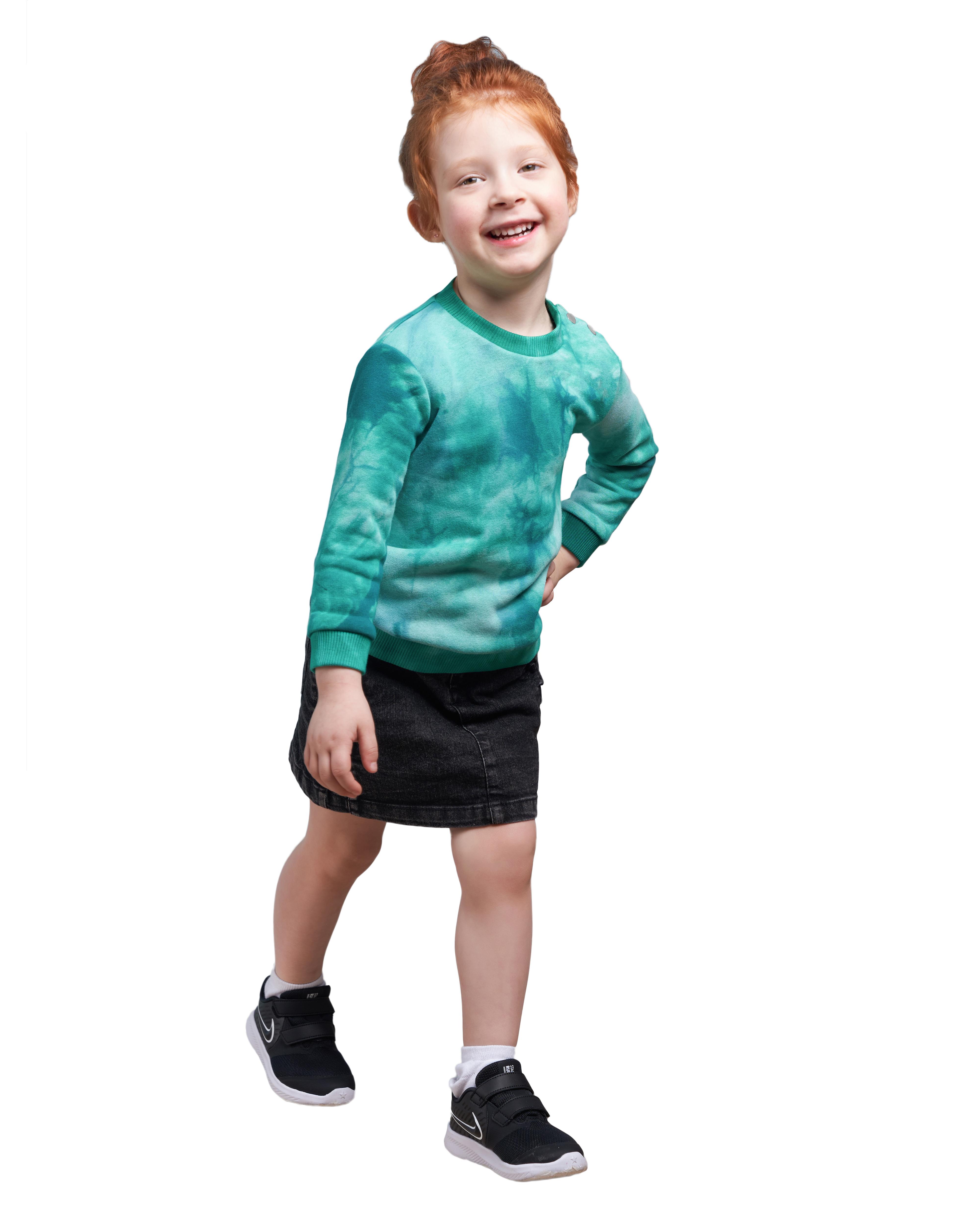 Купить Свитшот детский BARMARISKA Тай Дай зеленый р.110-116, Толстовки для девочек
