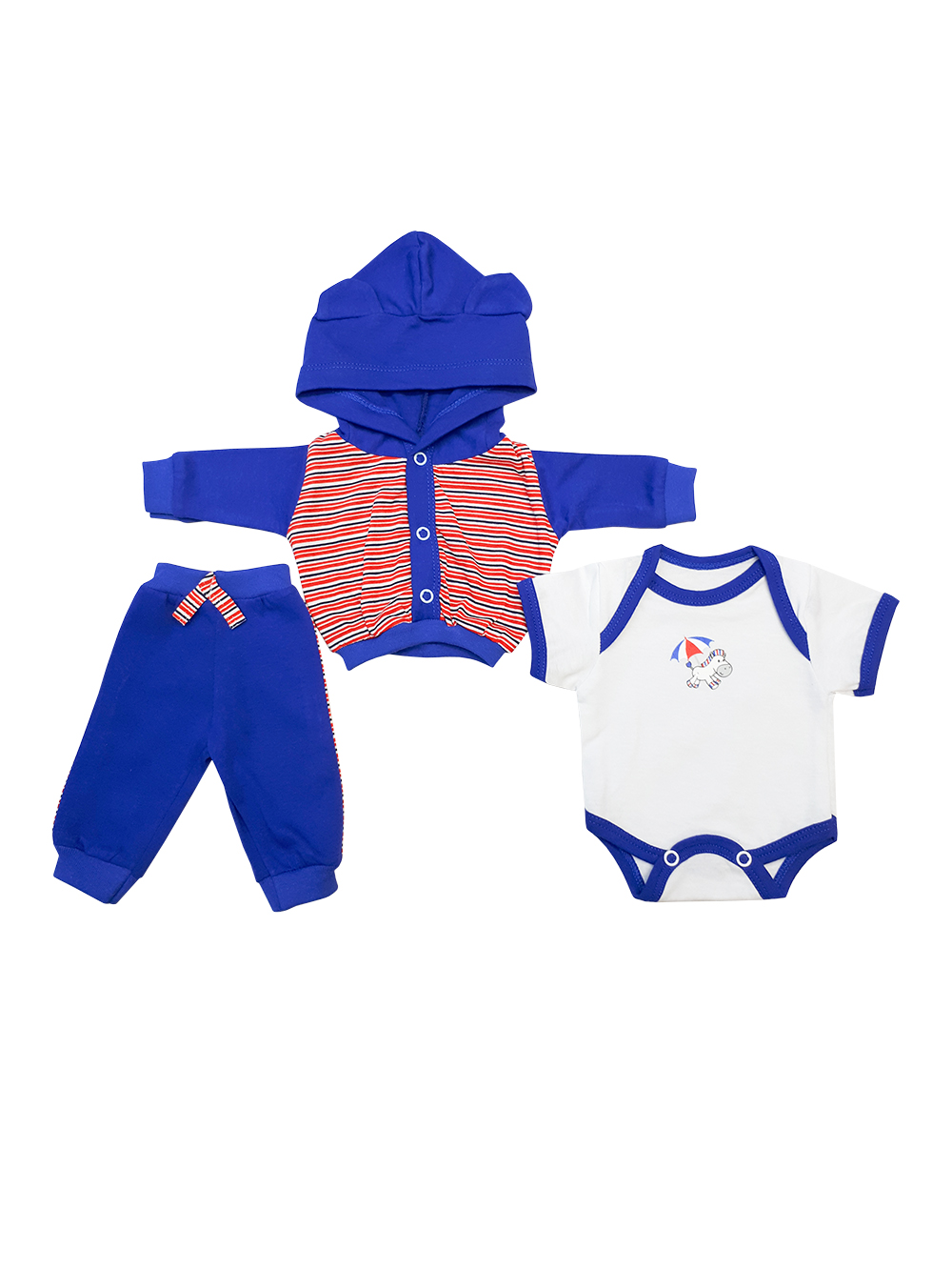Комплект одежды для куклы Колибри синий,белый 301