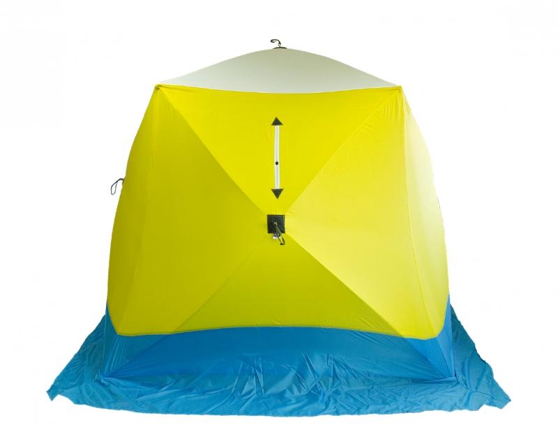 Палатка для рыбалки Стэк Куб трехместная желтая/синяя/белая