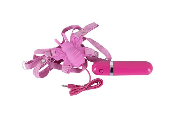 Вибромассажер стимулятор клитора ORION Butterfly-Vibrator Бабочка на ремешках, розовый