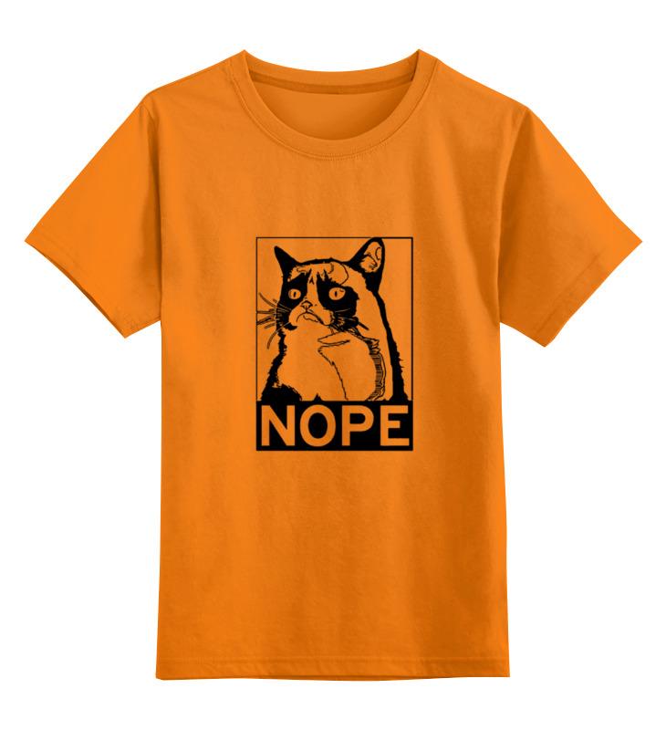 Купить 0000000737685, Детская футболка Printio Сердитый котик / grumpy cat штамп цв.оранжевый р.116,