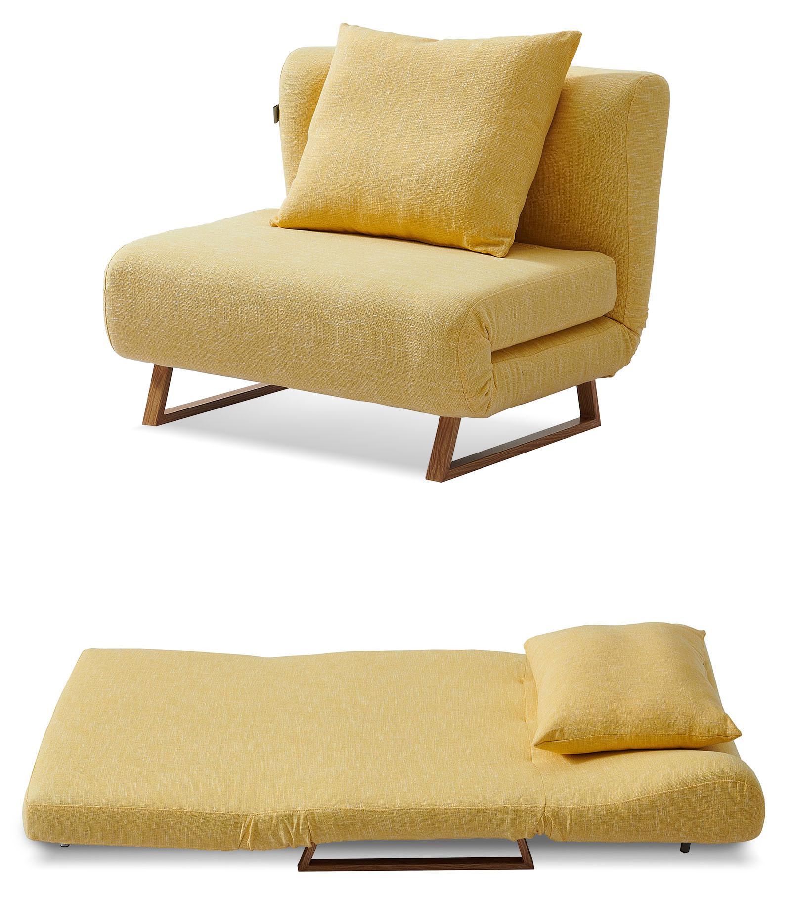 Кресло кровать Rosy, желтый/без принта