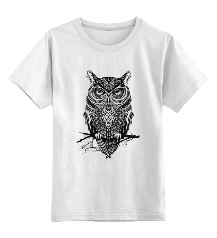 Купить 0000000735148, Детская футболка Printio Оld owl цв.белый р.128,