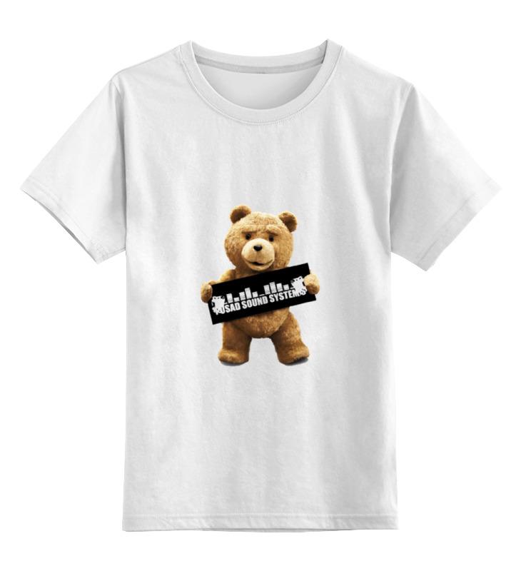 Купить 0000000734635, Детская футболка Printio Ted pss цв.белый р.128,