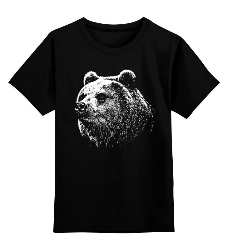 Купить 0000000727785, Детская футболка Printio Медведь цв.черный р.128,
