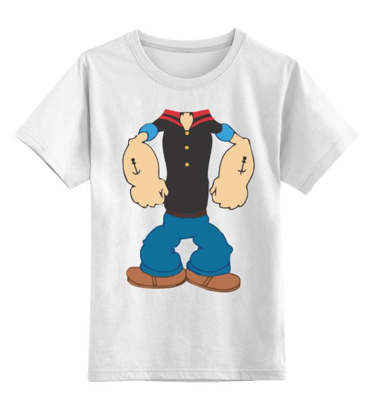 Купить 0000000746471, Детская футболка Printio Моряк попай цв.белый р.140,