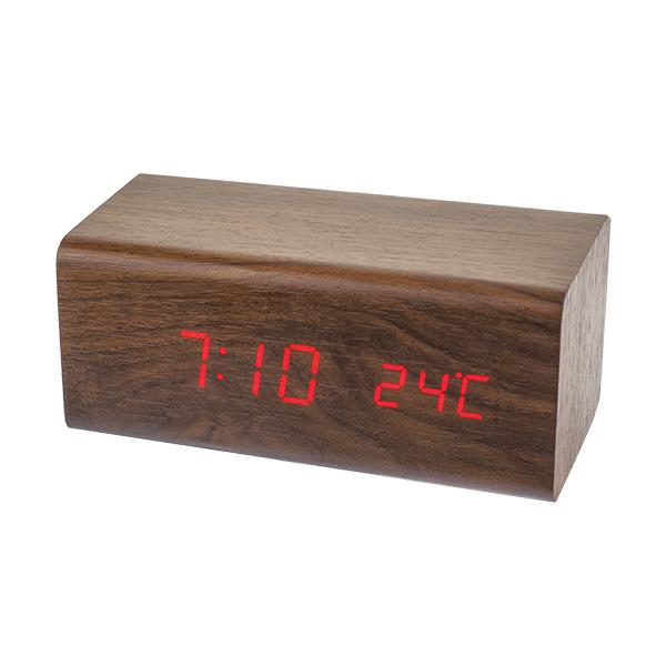 Часы будильник Perfeo Block, коричневый/красная,время, температура, PF_A4394