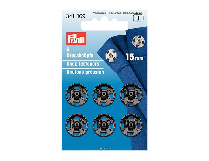 PRYM PRYM Кнопки пришивные, 15 мм, черные, 341169