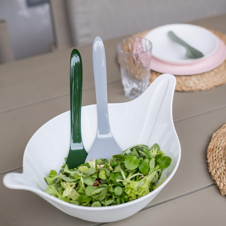 Салатница с приборами leaf 2.0, 4 л, бело-серая, Koziol