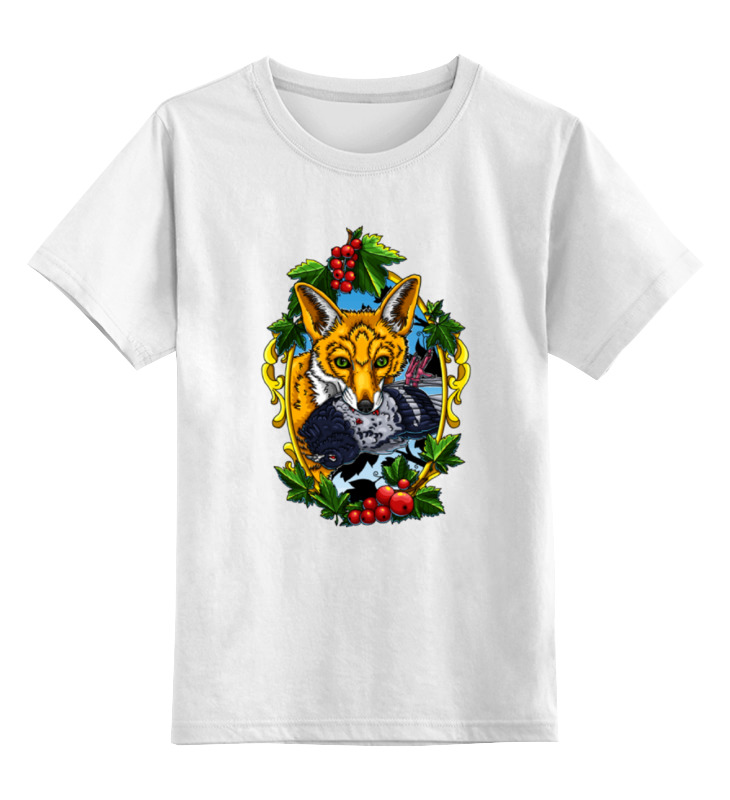 Детская футболка Printio Лиса с голубем цв.белый р.140 0000000737647 по цене 790