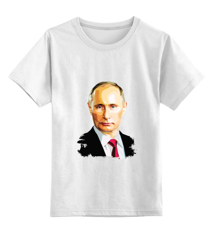 Купить 0000000734691, Детская футболка Printio Владимир Путин цв.белый р.140,