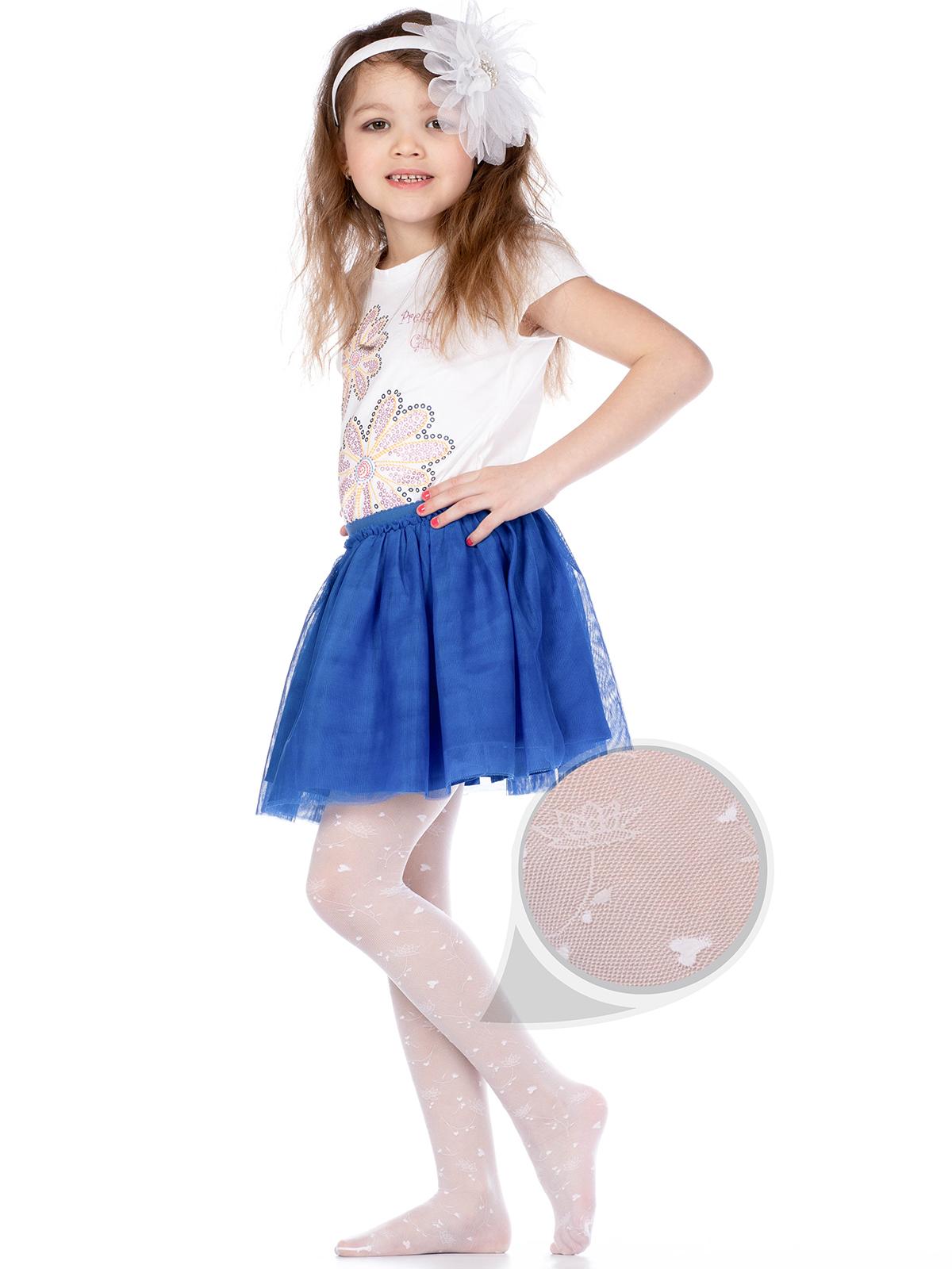 Купить ELIZA08, Колготки детские Giulia, цв. белый р.128,